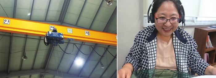 동양호이스트크레인 대표가 웃으며 화상상담하는 모습