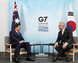 문재인 대통령과 스콧 모리슨 호주 총리 정상회담 모습
