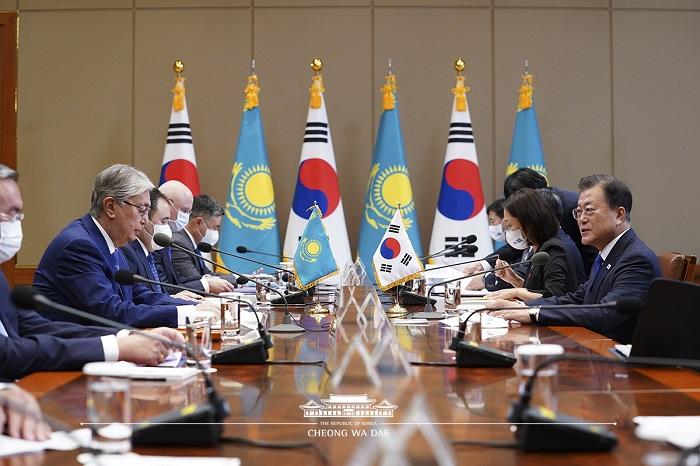 한국, 카자흐스탄 정상회담 모습