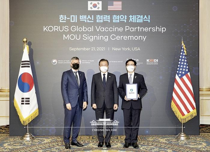 「한미 백신 협력 협약 체결식」에서 백신 원부자재 등을 생산하는 글로벌 생명과학 기업인 싸이티바(Cytiva)가 한국 내 고부가 세포배양백 등의 생산시설 설립 투자를 내용으로 하는 투자신고서를 제출하였다.